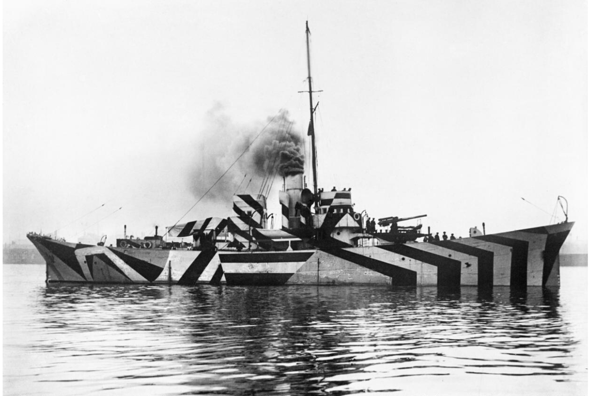 HMS KILDWICK in dazzle camouflage. Image credit - Surgeon Oscar Parkes