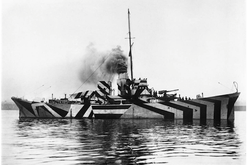 HMS KILDWICK in dazzle camouflage. Image credit - Surgeon Oscar Parkes