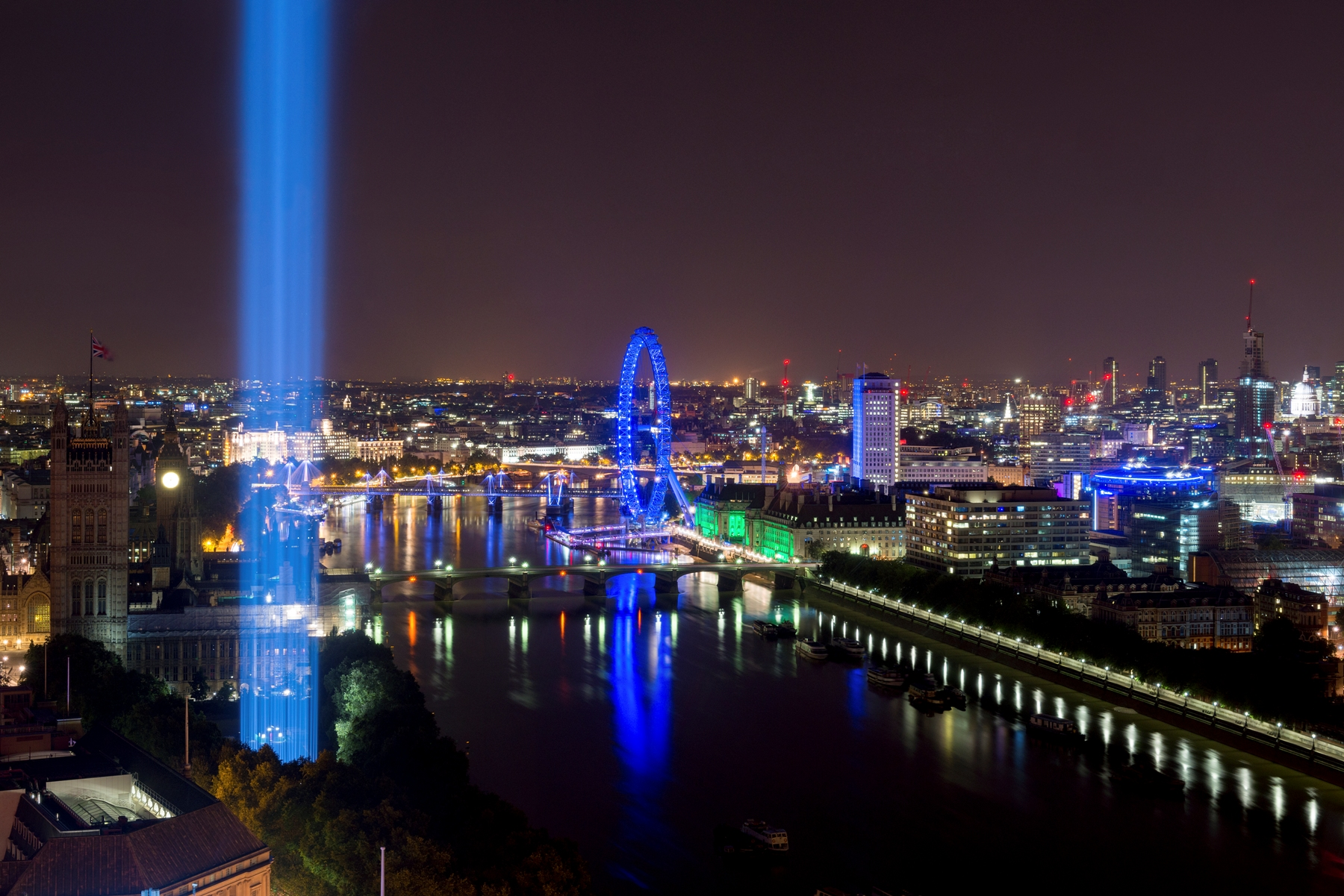 spectra by Ryoji Ikeda, 2014. View from Millbank Tower. Image credit - Will Eckersley.