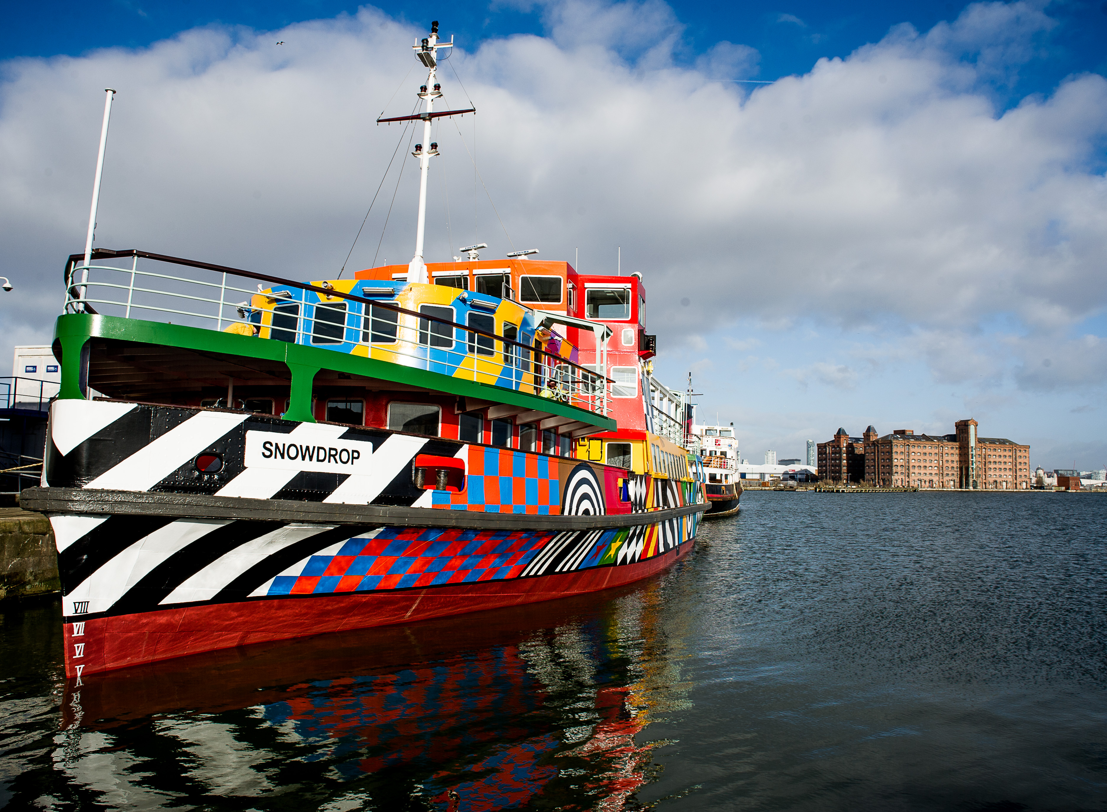 Dazzle Ferry Mersey, Everybody Razzle Dazzle, Sir Peter Blake, 2015. Image credit - Ant Clausen