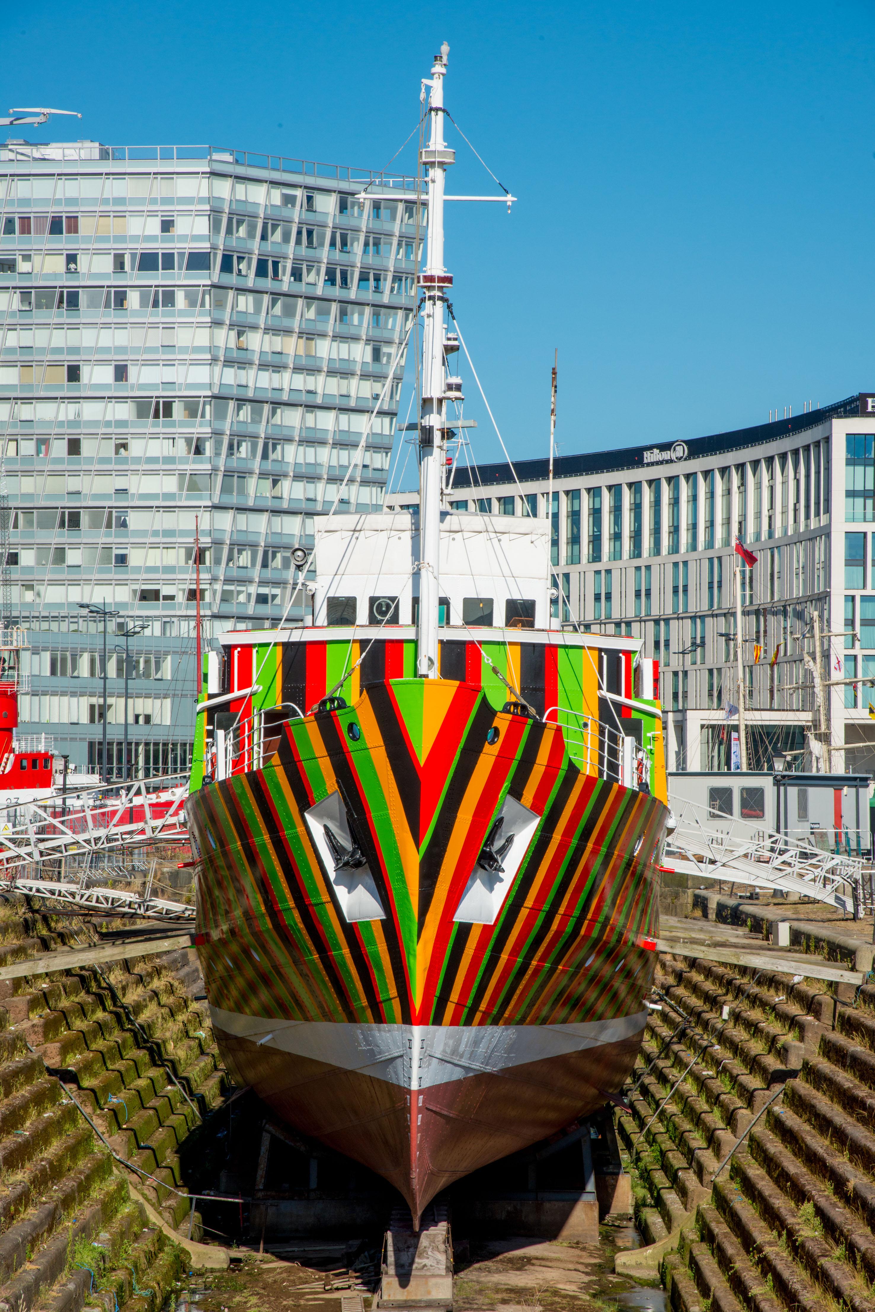 Dazzle Ship Liverpool, Carlos Cruz-Diez, 2014. Image credit - Mark McNulty