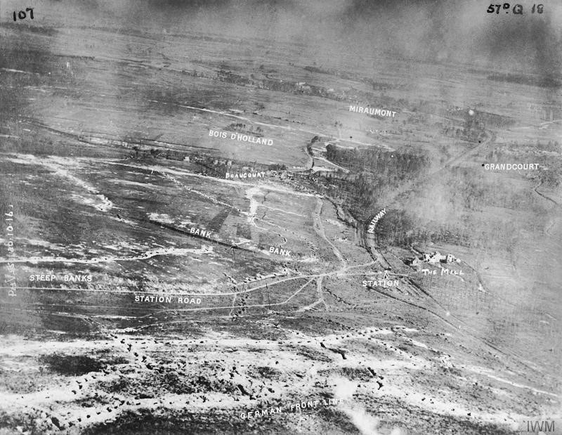 Low level annotated oblique view of the Ancre valley south of Beaumont Hamel, taken during the Battle of the Somme. Catalogue number Q 48887