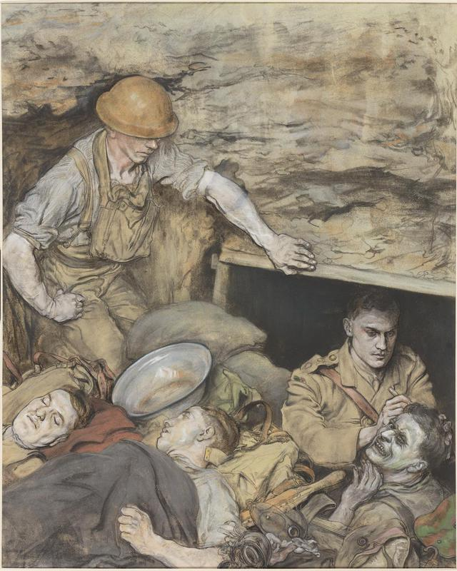 A scene in a Regimental Aid Post in a trench. There are three wounded men; two lie still on stretchers, while the other grimaces as the doctor treats his head wound. A medical orderly kneels to the left of the composition, observing the procedure. © Art.IWM ART 2766