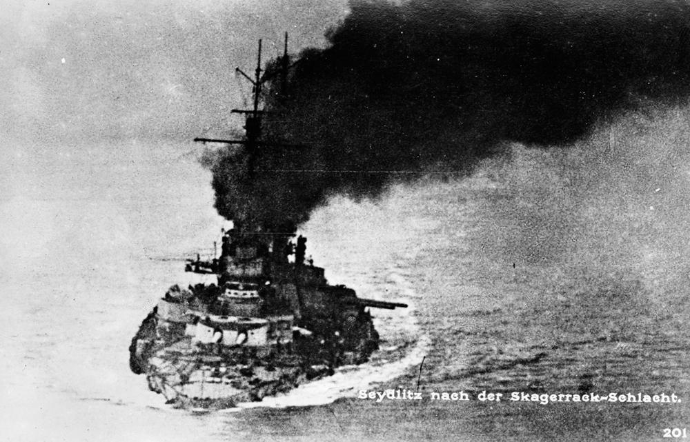 SMS Seydlitz on fire during the Battle of Jutland.