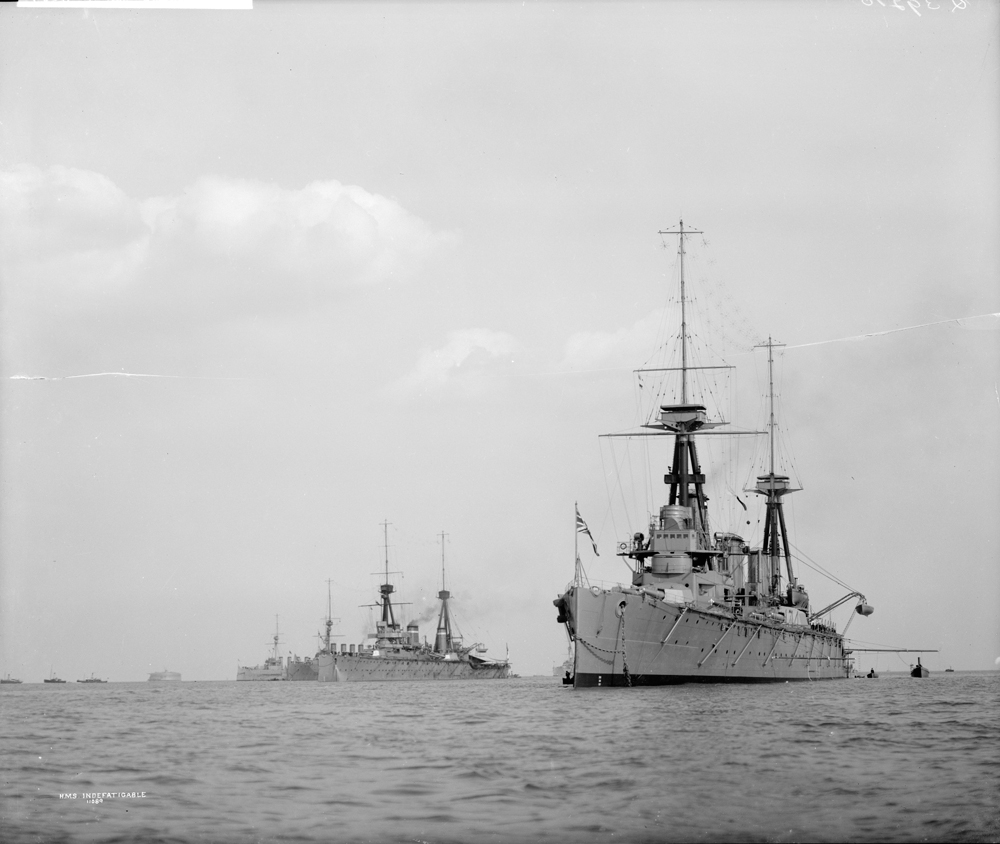 HMS Indefatigable. Blew up and sunk at The Battle of Jutland, 31 May 1916.