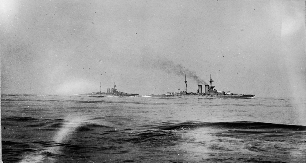 HMS Warspite and Malaya seen from HMS Valiant at 2pm on 31 May 1916 during the Battle of Jutland.