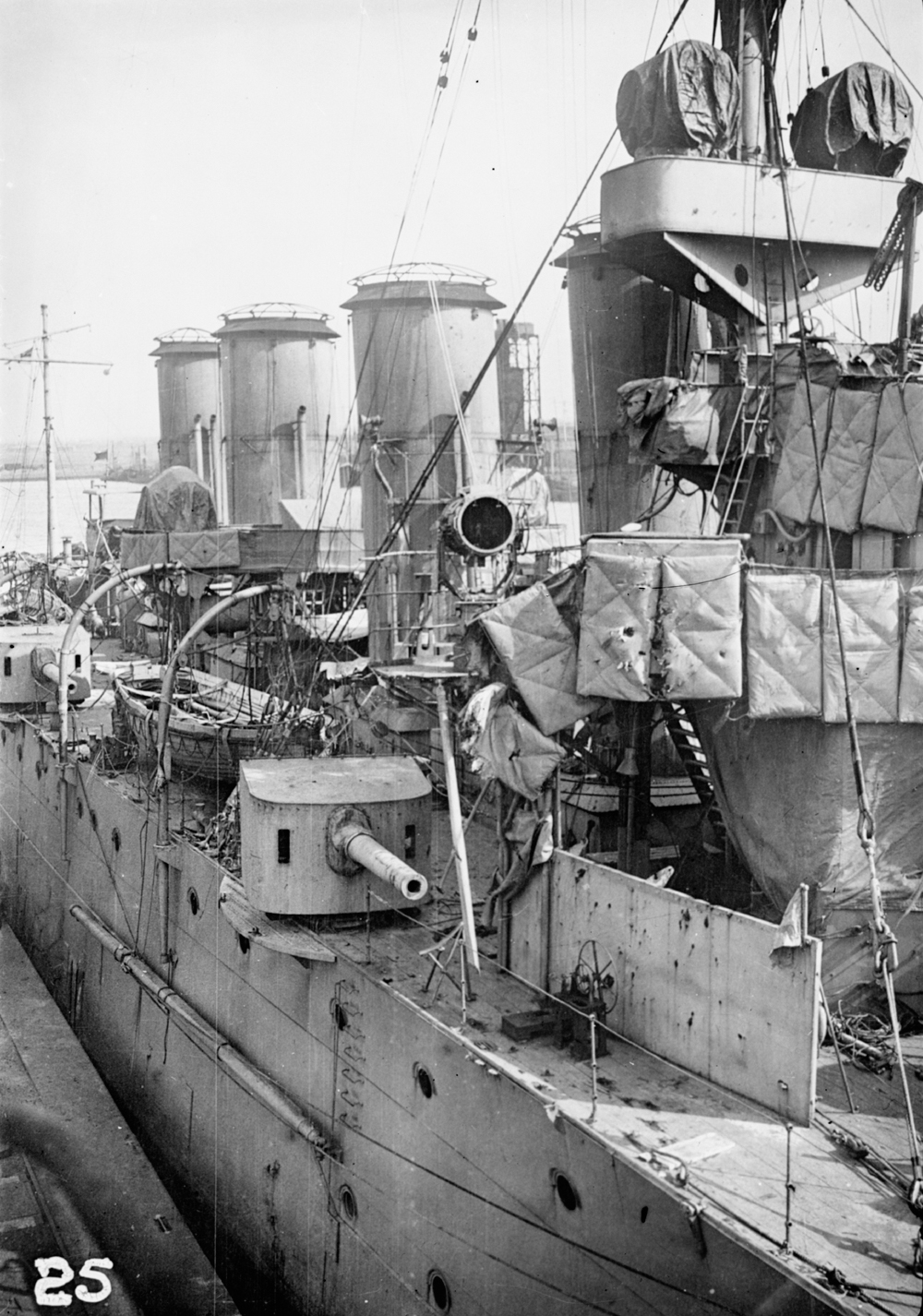 HMS Chester, showing damage to the funnels and foretop sustained at the Battle of Jutland, 31 May 1916.