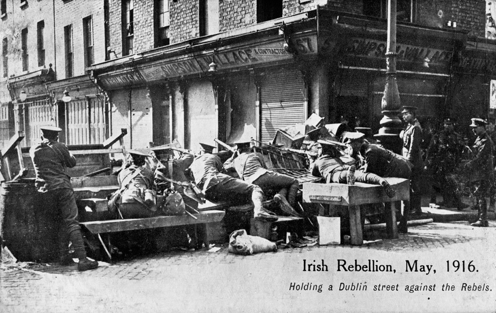 Troops holding a Dublin street against the rebels during the Easter Rising in April 1916.