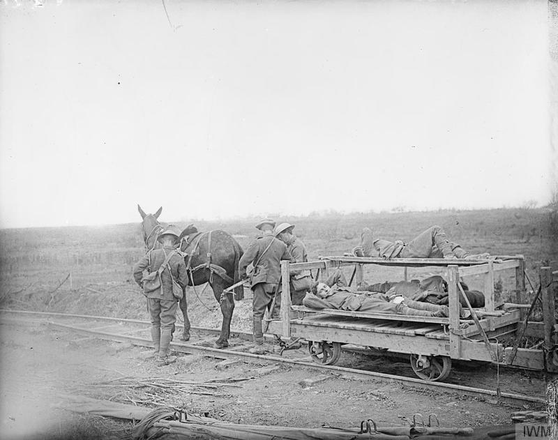 Members of the Royal Army Medical Corps transporting the wounded soldiers on a mule-drawn light railway in Carnoy Valley, July 1916.