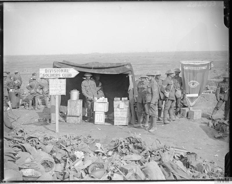 The Guards Divisional Canteen for wounded at Guillemont. September 1916. Note the banner bearing the Guards Divisional Sign. The notice on the board read: