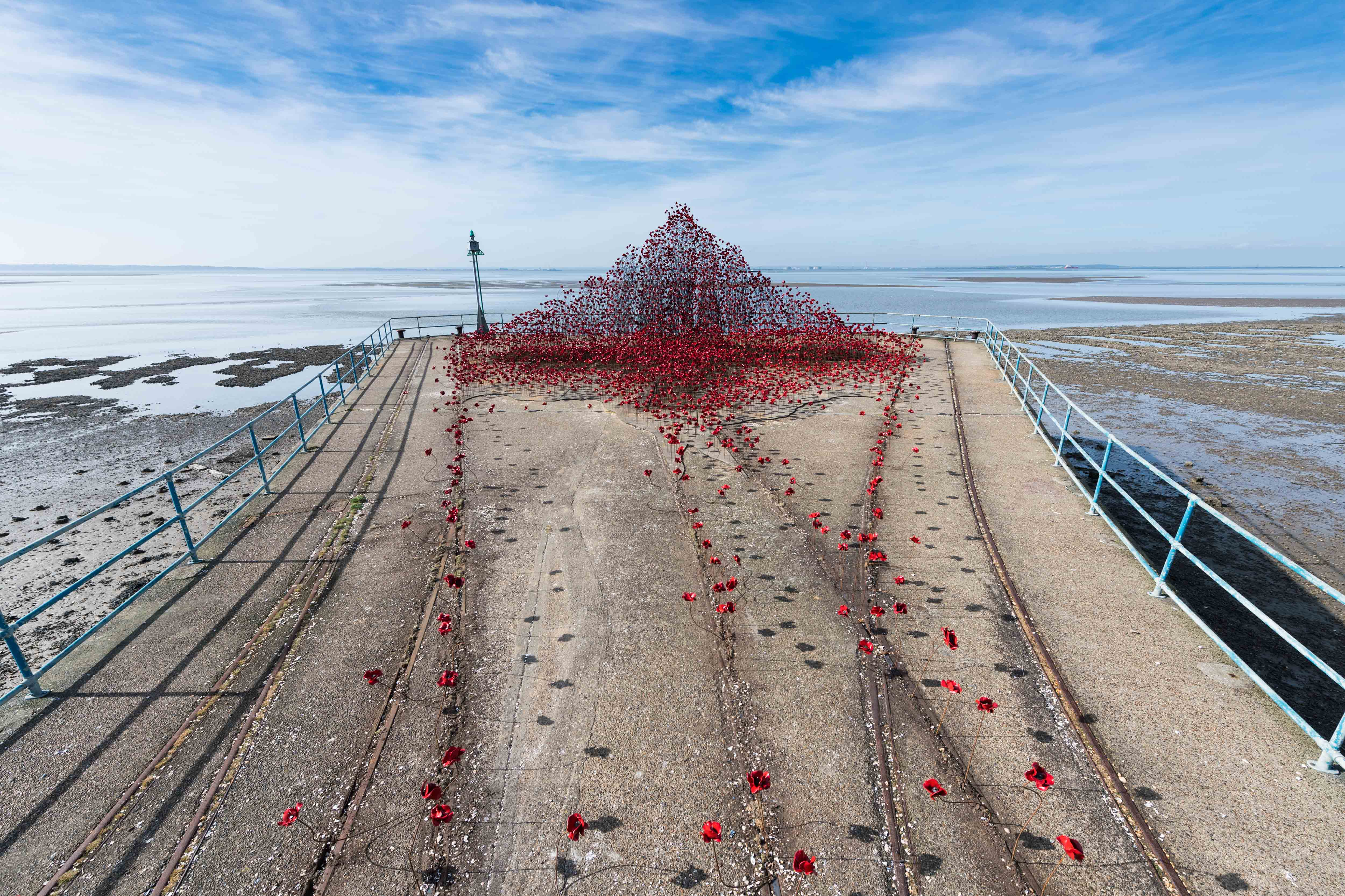 Poppies: Wave at Barge Pier, Shoeburyness, Southend-on- Sea. Photo by Ian Gavan/Getty Images