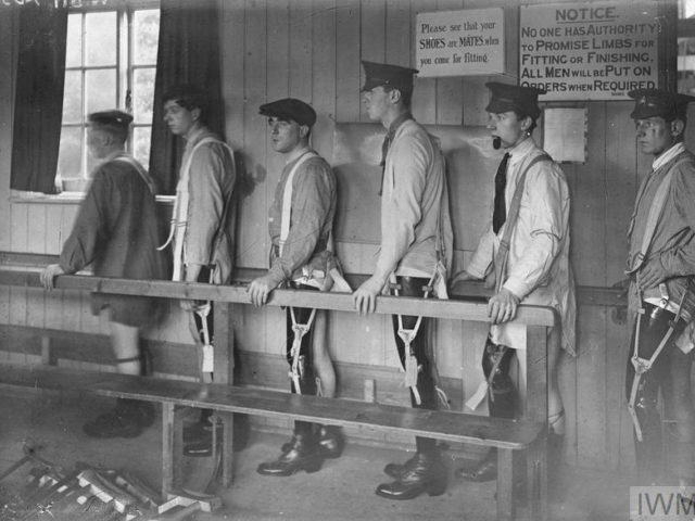 WWI era photo of men in leg braces