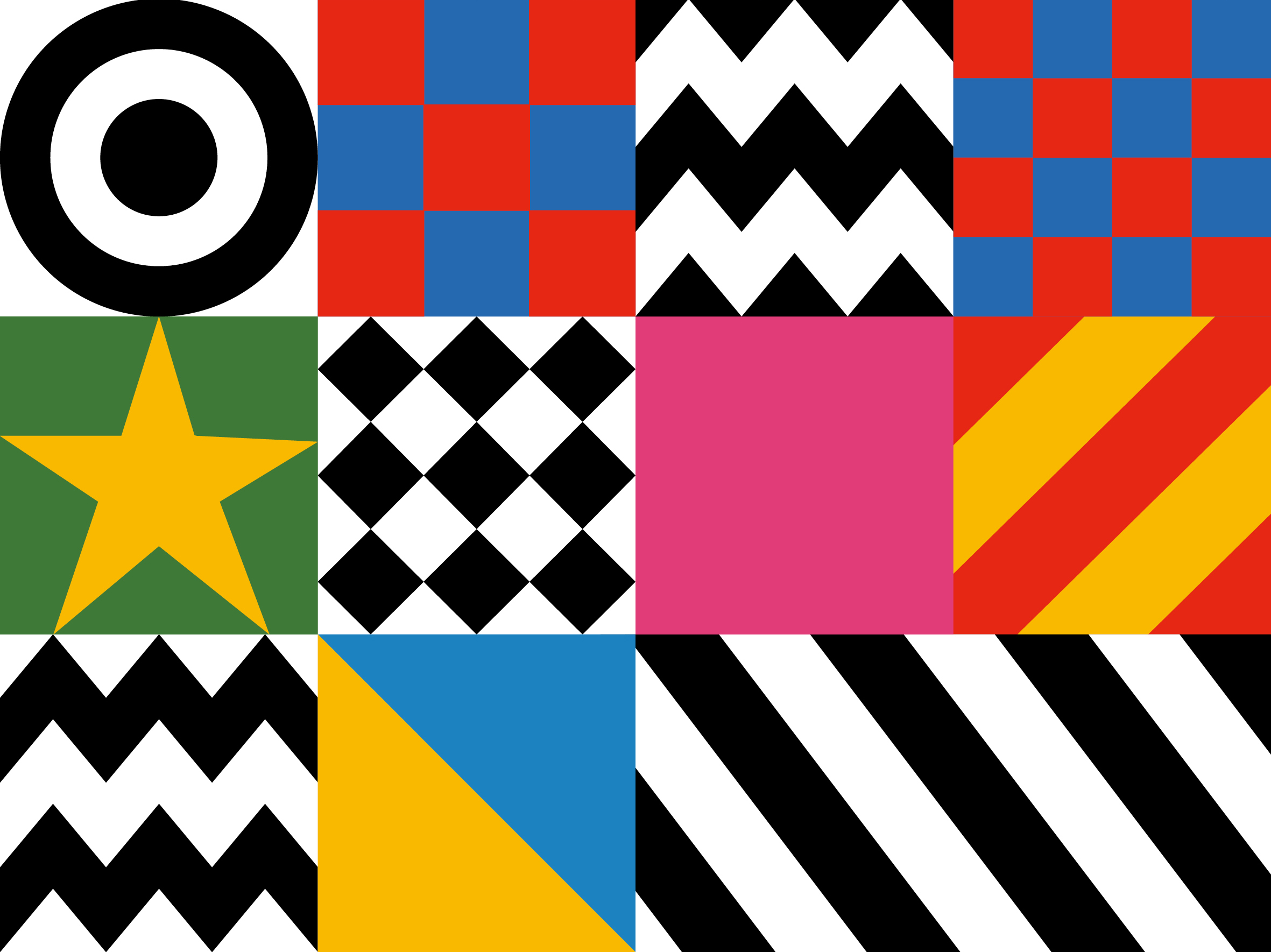 Design motifs from Sir Peter Blake's Everybody Razzle Dazzle, 2015
