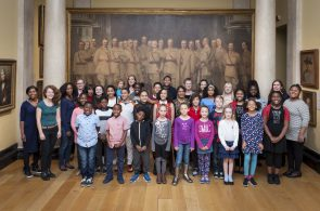 Pembroke Academy of Music Community Choir rehearsing for a special performance of Memorial Ground at the National Portrait Gallery. Photo by Jorge Herrera